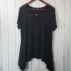 Rafaella Cute black short sleeve top size Hi-Lo XL